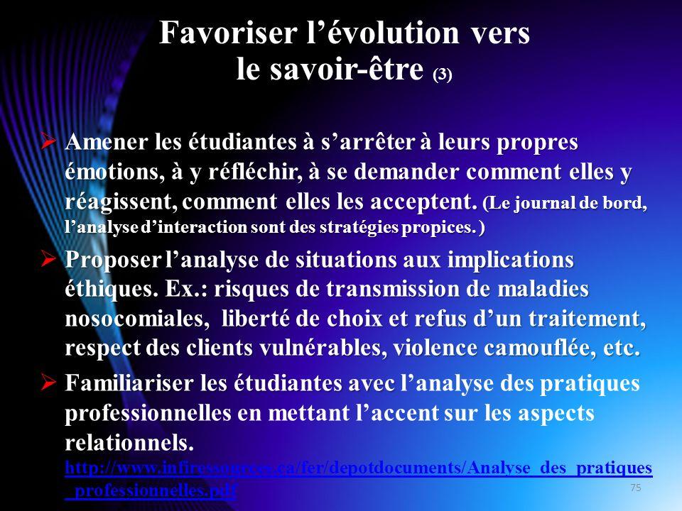 Favoriser l'évolution vers le savoir-être (3)
