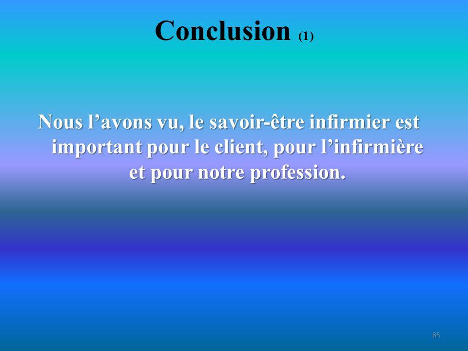 Conclusion (1) Nous l'avons vu, le savoir-être infirmier est important pour le client, pour l'infirmière et pour notre profession.