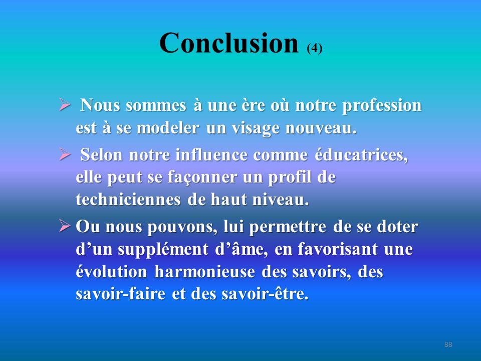 Conclusion (4) Nous sommes à une ère où notre profession est à se modeler un visage nouveau.