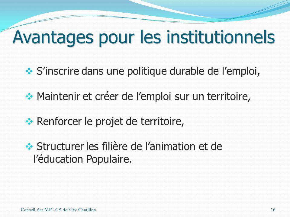 Avantages pour les institutionnels
