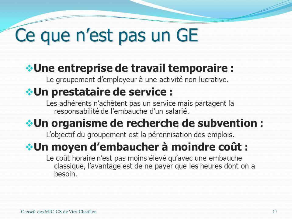 Ce que n'est pas un GE Une entreprise de travail temporaire :