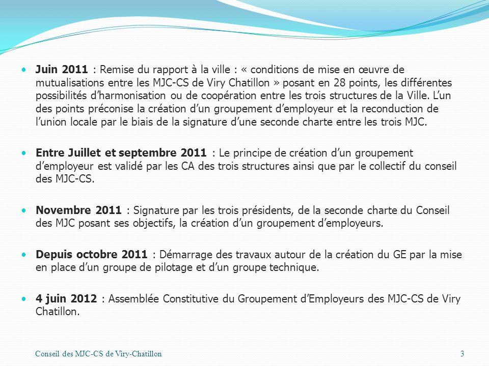 Juin 2011 : Remise du rapport à la ville : « conditions de mise en œuvre de mutualisations entre les MJC-CS de Viry Chatillon » posant en 28 points, les différentes possibilités d'harmonisation ou de coopération entre les trois structures de la Ville. L'un des points préconise la création d'un groupement d'employeur et la reconduction de l'union locale par le biais de la signature d'une seconde charte entre les trois MJC.