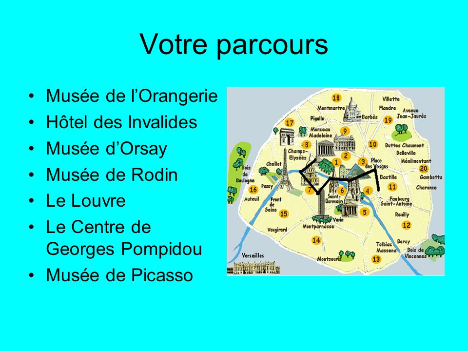 Votre parcours Musée de l'Orangerie Hôtel des Invalides Musée d'Orsay