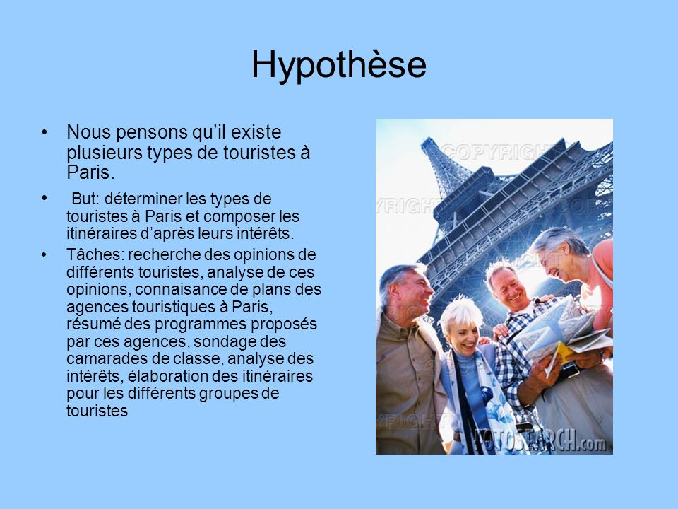 Hypothèse Nous pensons qu'il existe plusieurs types de touristes à Paris.
