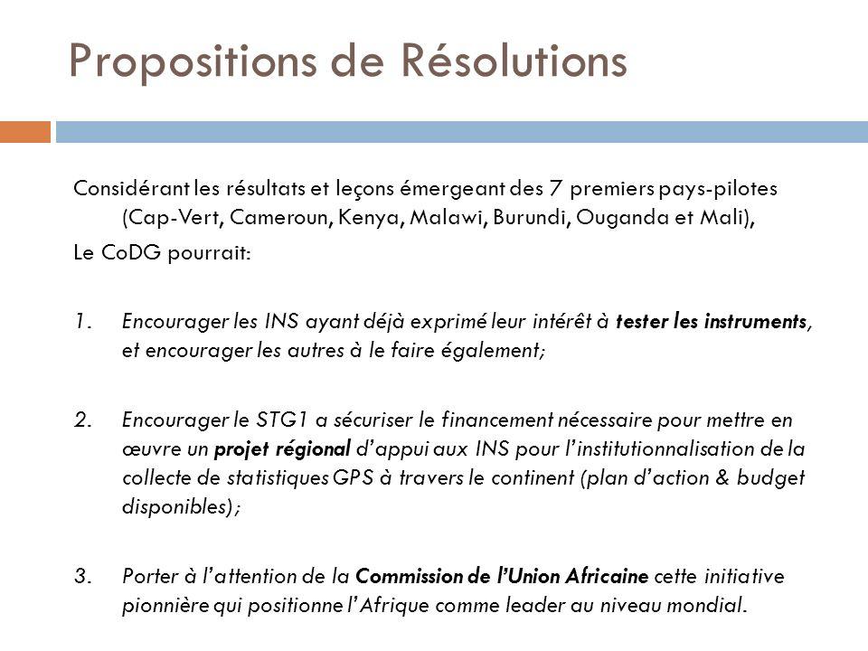 Propositions de Résolutions