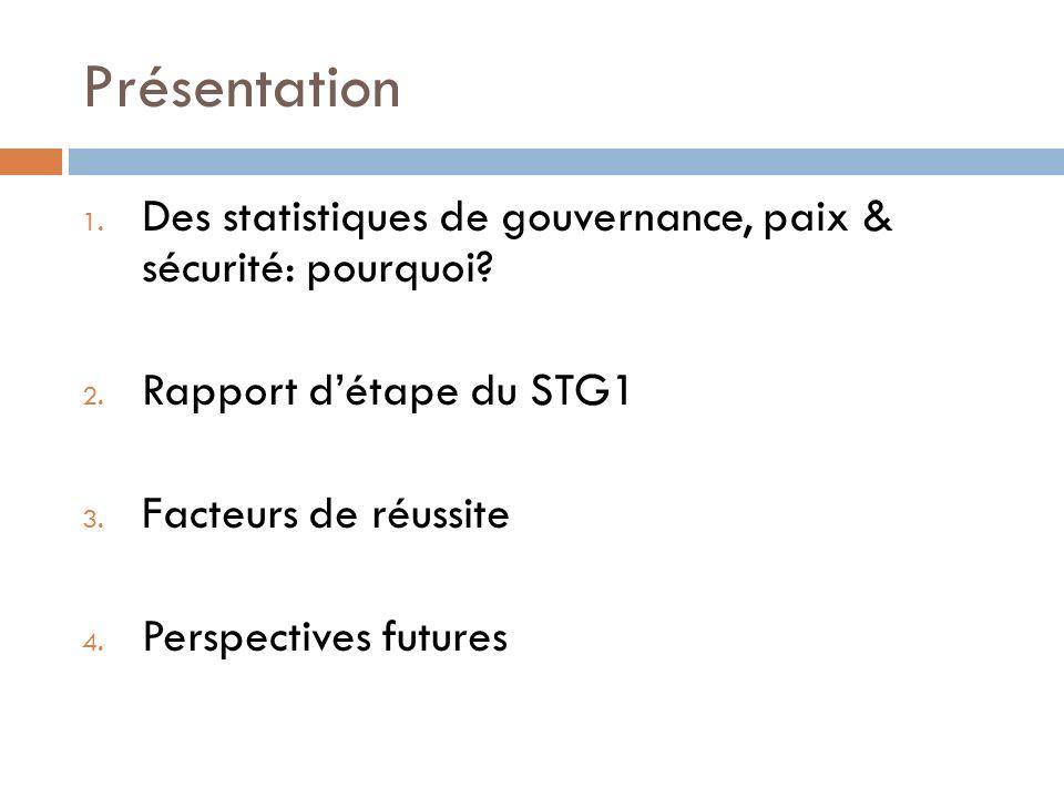 Présentation Des statistiques de gouvernance, paix & sécurité: pourquoi Rapport d'étape du STG1.