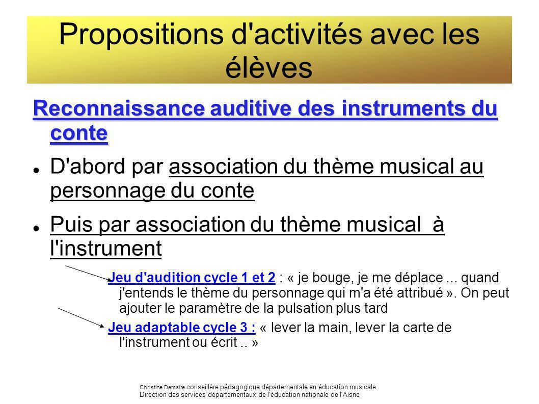 Propositions d activités avec les élèves