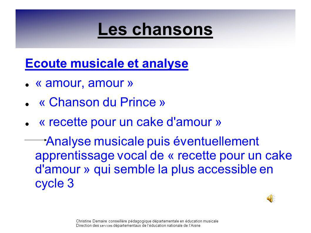Les chansons Ecoute musicale et analyse « amour, amour »
