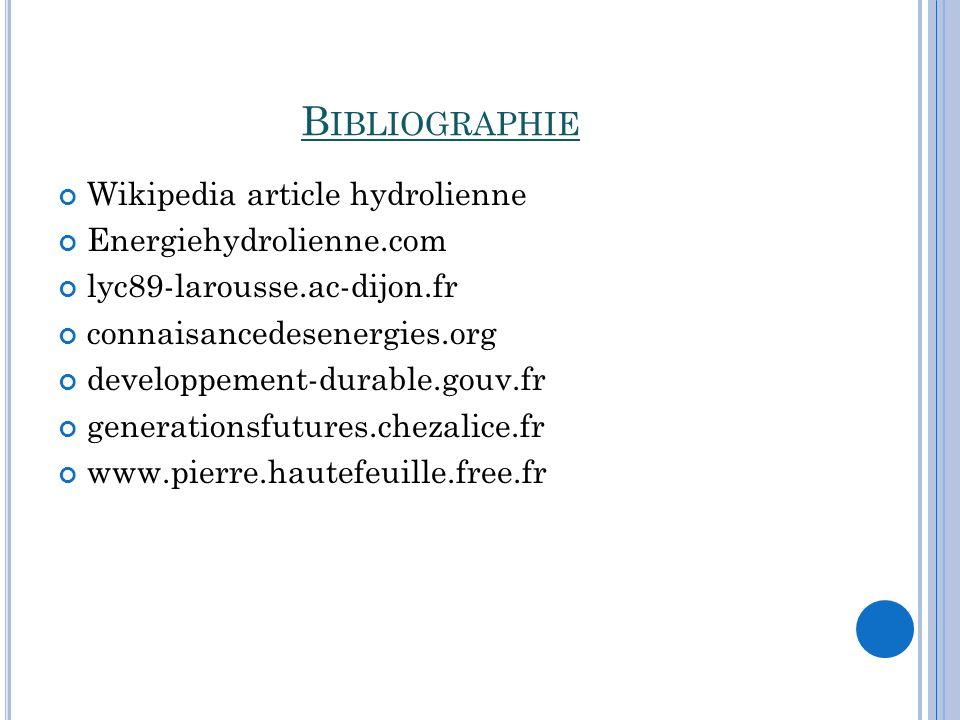 Bibliographie Wikipedia article hydrolienne Energiehydrolienne.com