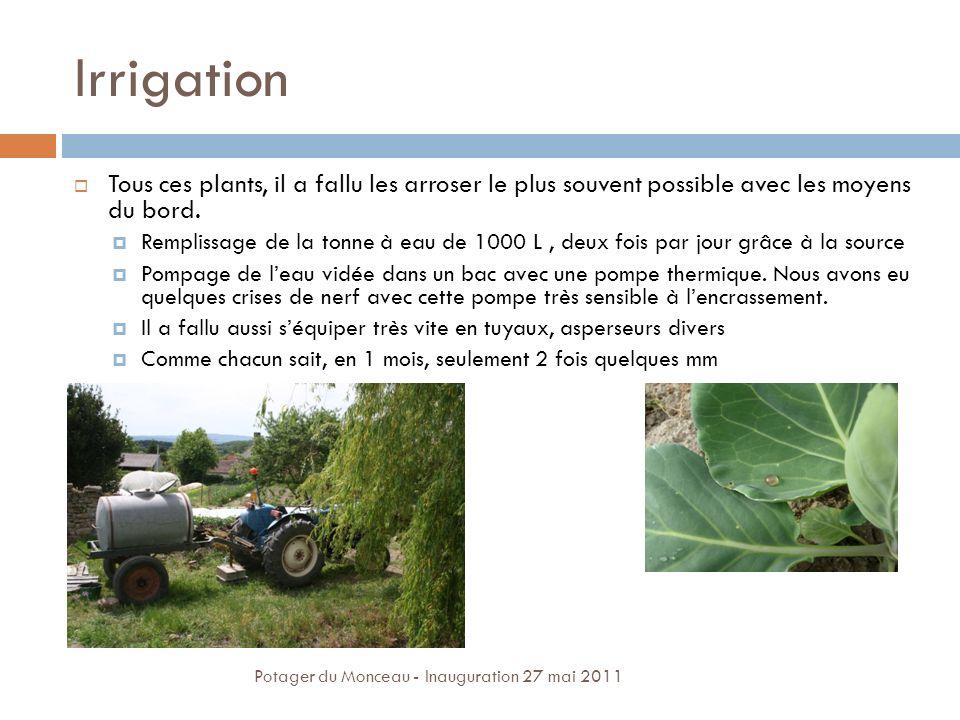 Irrigation Tous ces plants, il a fallu les arroser le plus souvent possible avec les moyens du bord.