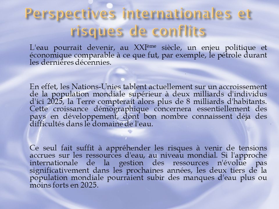 Perspectives internationales et risques de conflits