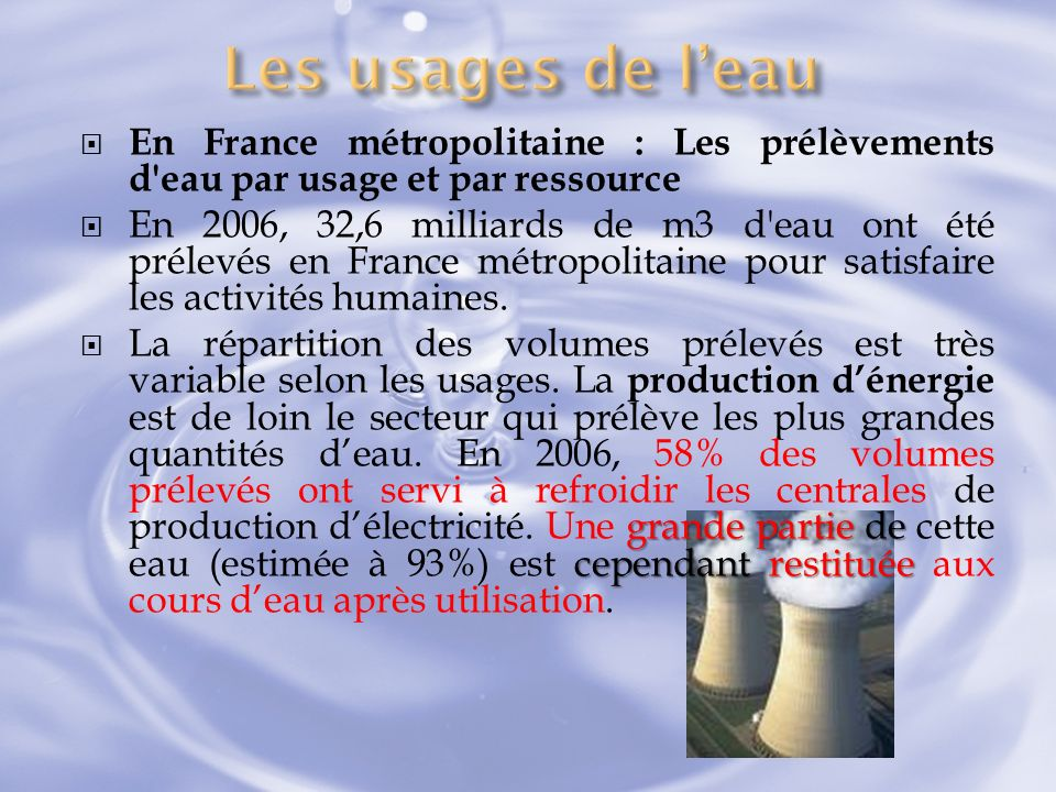 Les usages de l'eau En France métropolitaine : Les prélèvements d eau par usage et par ressource.