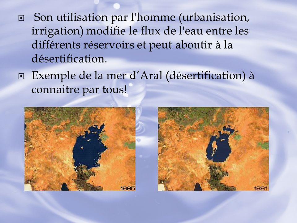 Son utilisation par l homme (urbanisation, irrigation) modifie le flux de l eau entre les différents réservoirs et peut aboutir à la désertification.