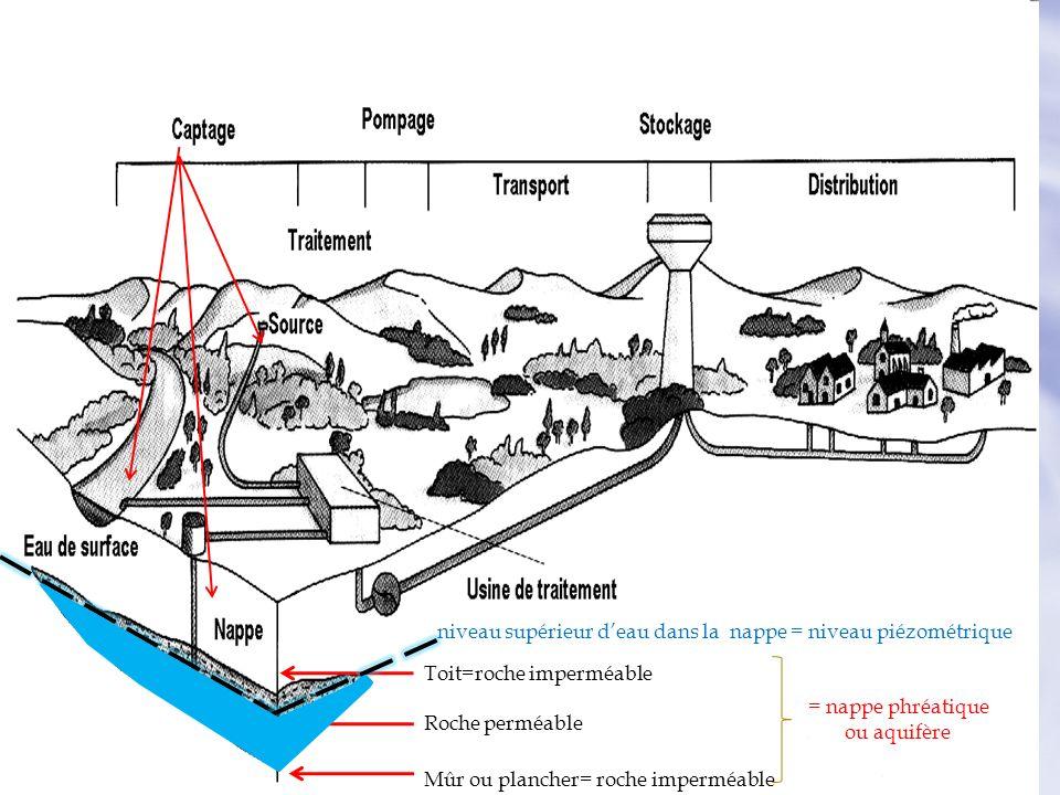 niveau supérieur d'eau dans la nappe = niveau piézométrique