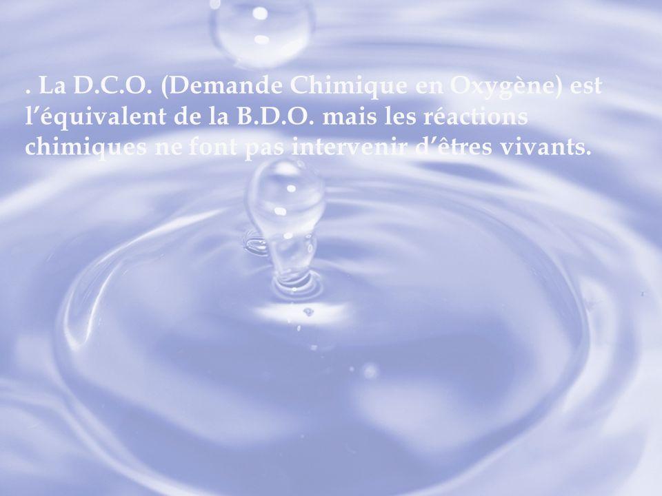 La D. C. O. (Demande Chimique en Oxygène) est l'équivalent de la B. D