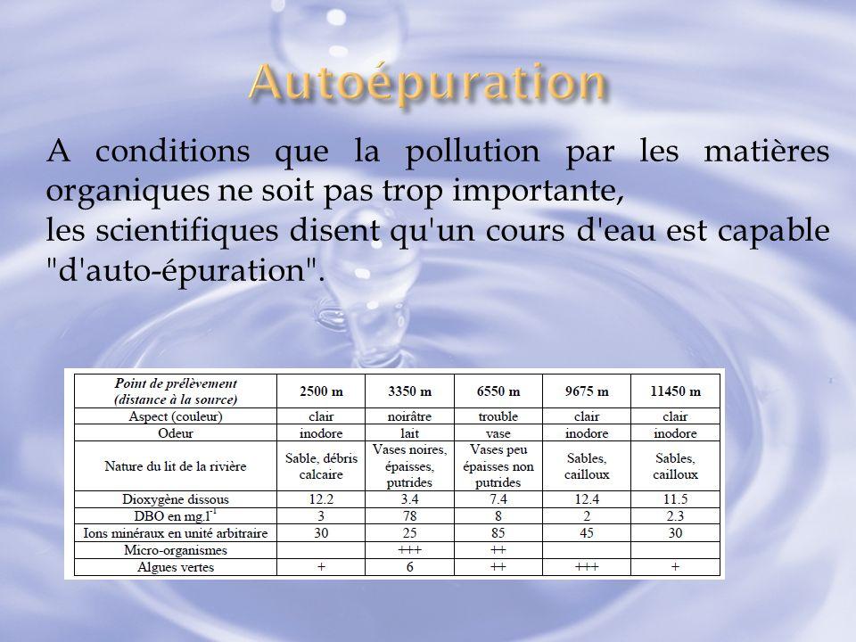 Autoépuration A conditions que la pollution par les matières organiques ne soit pas trop importante,
