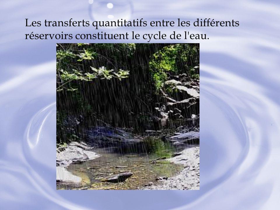 Les transferts quantitatifs entre les différents réservoirs constituent le cycle de l eau.