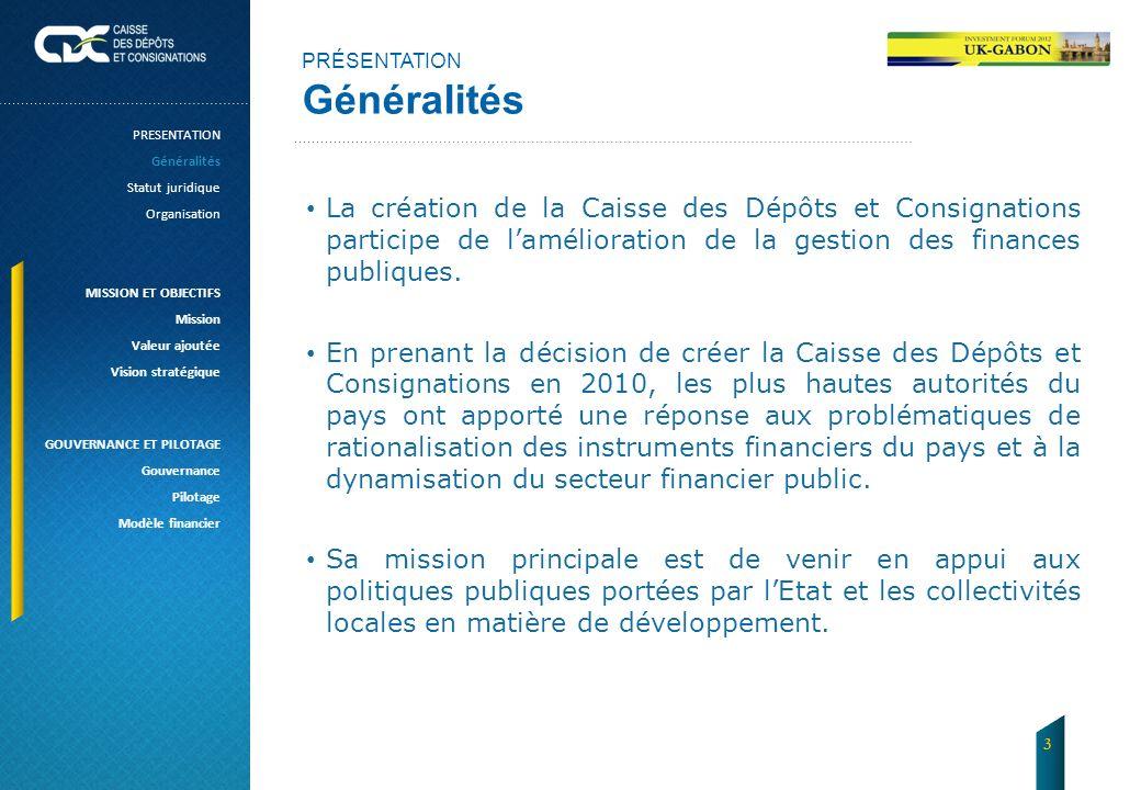 PRÉSENTATION Généralités. PRESENTATION. Généralités. Statut juridique. Organisation. MISSION ET OBJECTIFS.