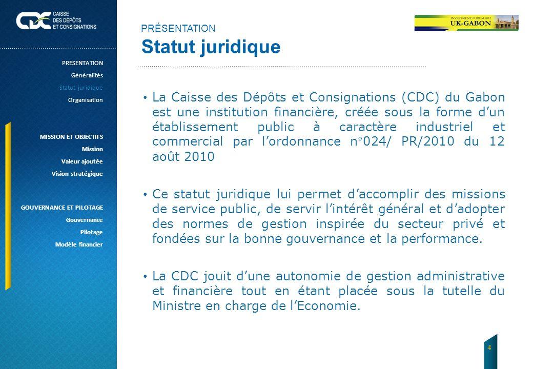 PRÉSENTATION Statut juridique. PRESENTATION. Généralités. Statut juridique. Organisation. MISSION ET OBJECTIFS.