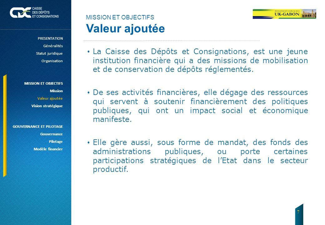 MISSION ET OBJECTIFS Valeur ajoutée. PRESENTATION. Généralités. Statut juridique. Organisation.