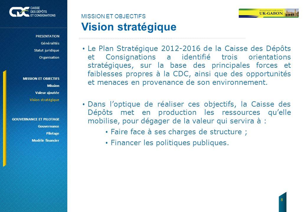 MISSION ET OBJECTIFS Vision stratégique. PRESENTATION. Généralités. Statut juridique. Organisation.