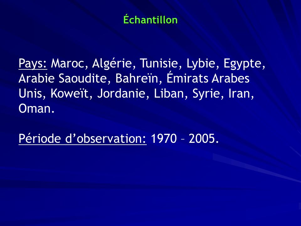 Période d'observation: 1970 – 2005.
