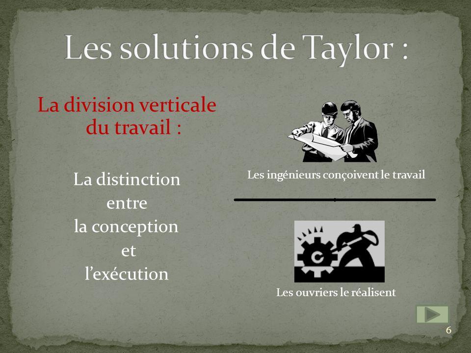 Les solutions de Taylor :