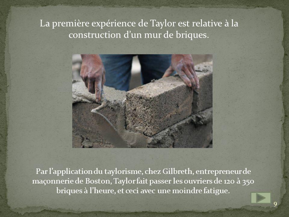 La première expérience de Taylor est relative à la construction d'un mur de briques.