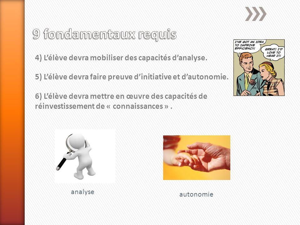 9 fondamentaux requis 4) L'élève devra mobiliser des capacités d'analyse. 5) L'élève devra faire preuve d'initiative et d'autonomie.