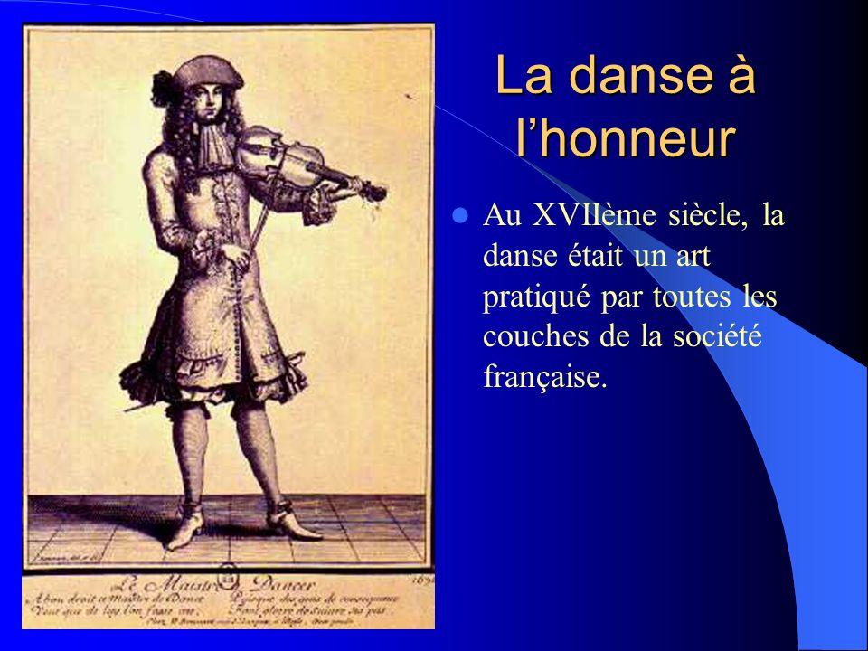 La danse à l'honneur Au XVIIème siècle, la danse était un art pratiqué par toutes les couches de la société française.