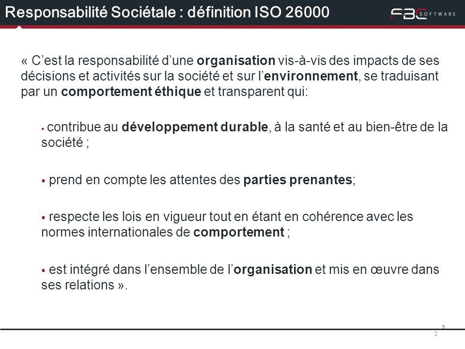 Responsabilité Sociétale : définition ISO 26000