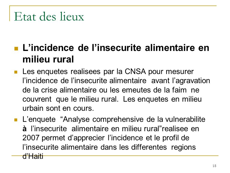 Etat des lieux L'incidence de l'insecurite alimentaire en milieu rural