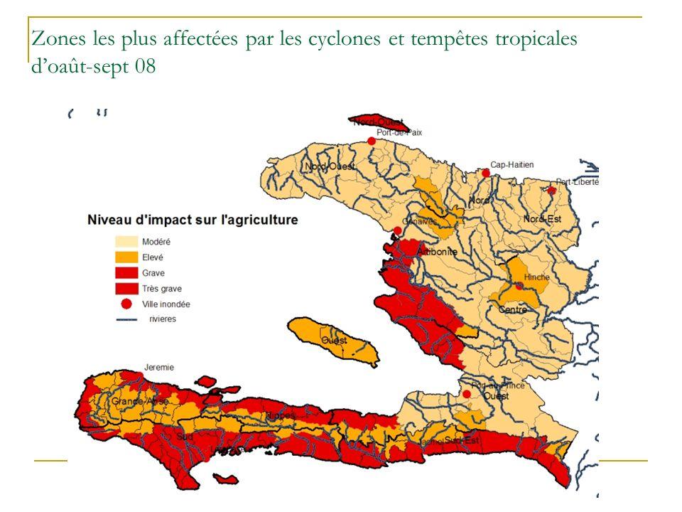 Zones les plus affectées par les cyclones et tempêtes tropicales d'oaût-sept 08