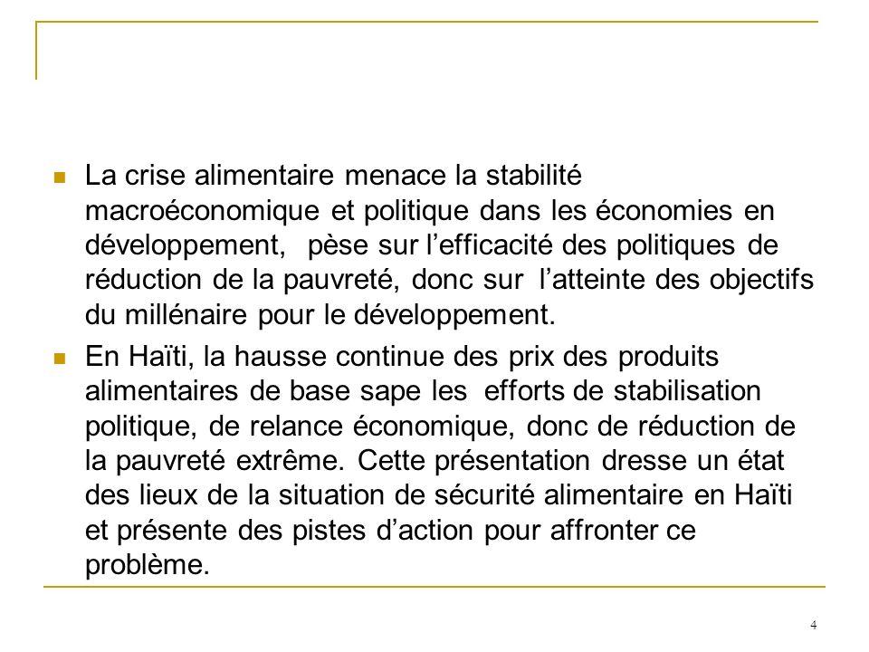 La crise alimentaire menace la stabilité macroéconomique et politique dans les économies en développement, pèse sur l'efficacité des politiques de réduction de la pauvreté, donc sur l'atteinte des objectifs du millénaire pour le développement.