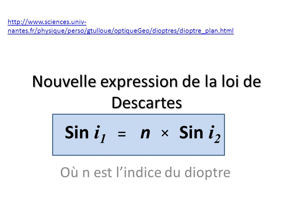Nouvelle expression de la loi de Descartes