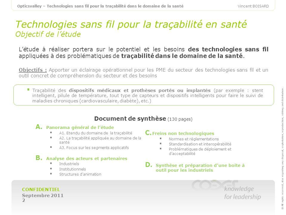 Technologies sans fil pour la traçabilité en santé Objectif de l'étude