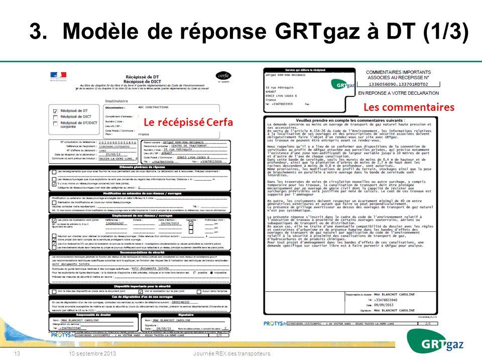 3. Modèle de réponse GRTgaz à DT (1/3)