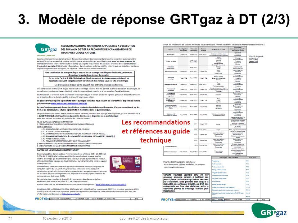 3. Modèle de réponse GRTgaz à DT (2/3)