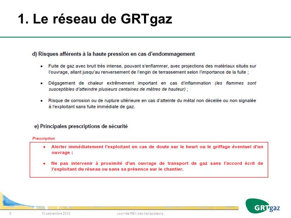 1. Le réseau de GRTgaz 10 septembre 2013 Journée REX des transporteurs