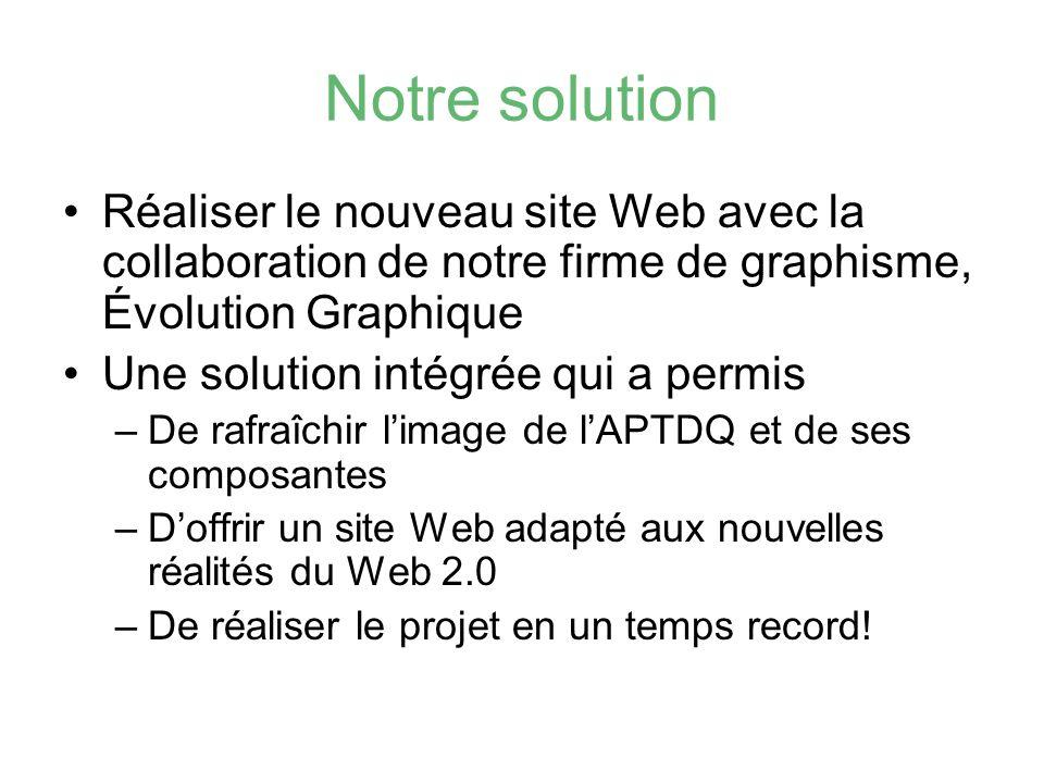 Notre solution Réaliser le nouveau site Web avec la collaboration de notre firme de graphisme, Évolution Graphique.