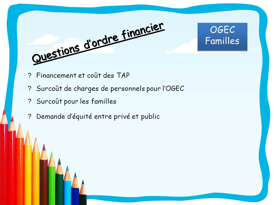 Questions d'ordre financier