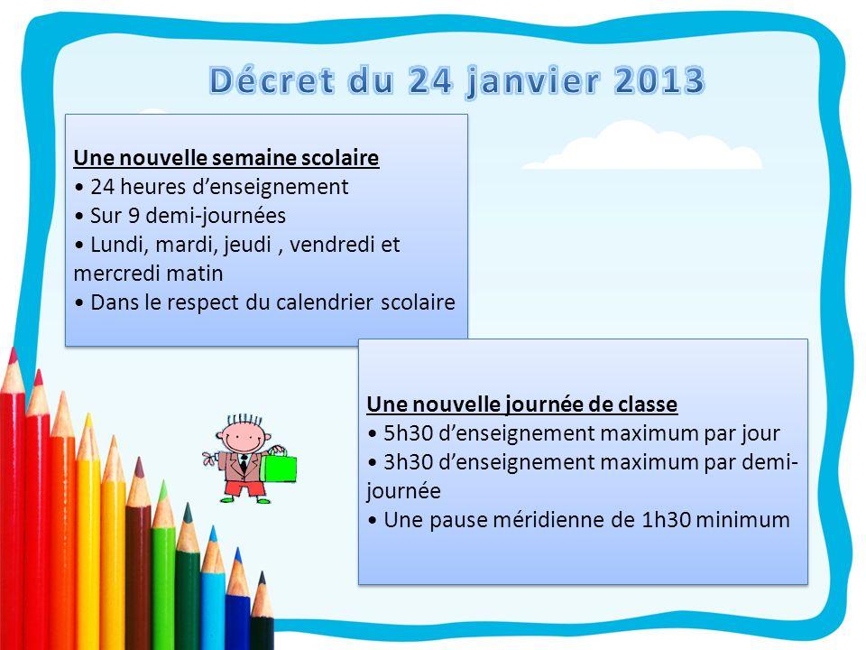 Décret du 24 janvier 2013 Une nouvelle semaine scolaire