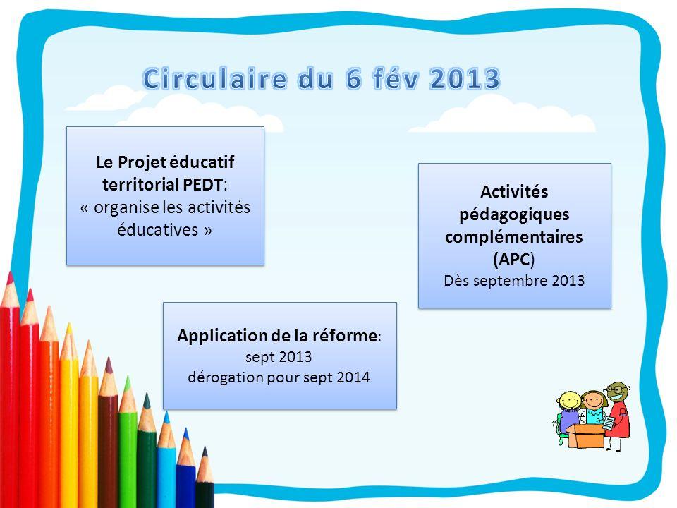Circulaire du 6 fév 2013Le Projet éducatif territorial PEDT: « organise les activités éducatives » Activités pédagogiques complémentaires (APC)