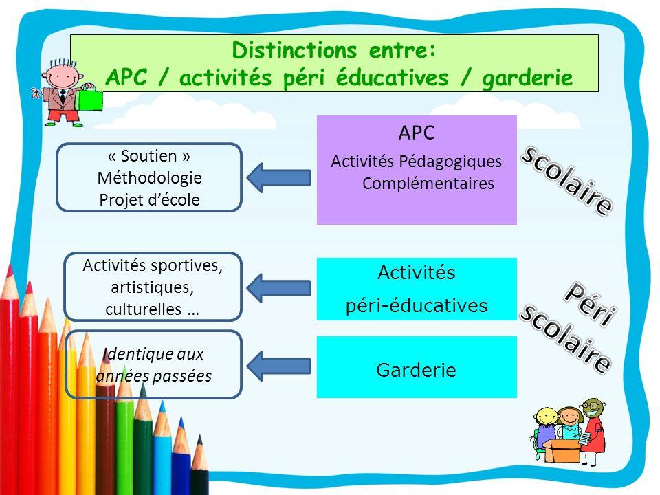 Distinctions entre: APC / activités péri éducatives / garderie