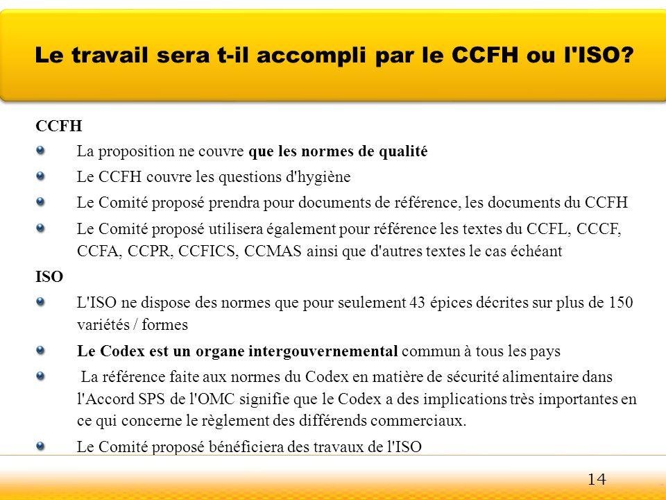 Le travail sera t-il accompli par le CCFH ou l ISO
