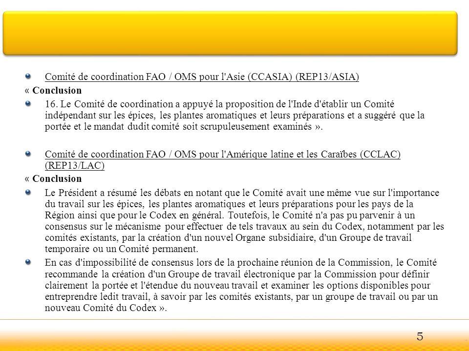 5 Comité de coordination FAO / OMS pour l Asie (CCASIA) (REP13/ASIA)