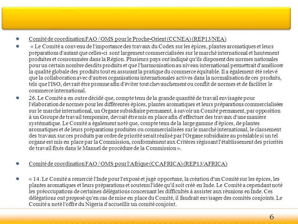 Comité de coordination FAO / OMS pour le Proche-Orient (CCNEA) (REP13/NEA)