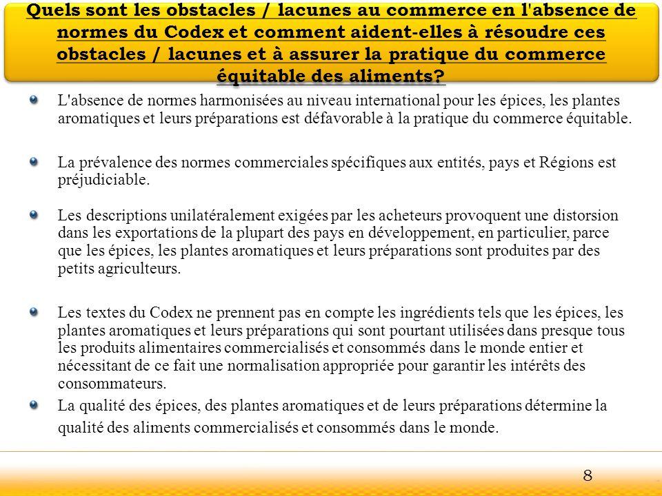 Quels sont les obstacles / lacunes au commerce en l absence de normes du Codex et comment aident-elles à résoudre ces obstacles / lacunes et à assurer la pratique du commerce équitable des aliments