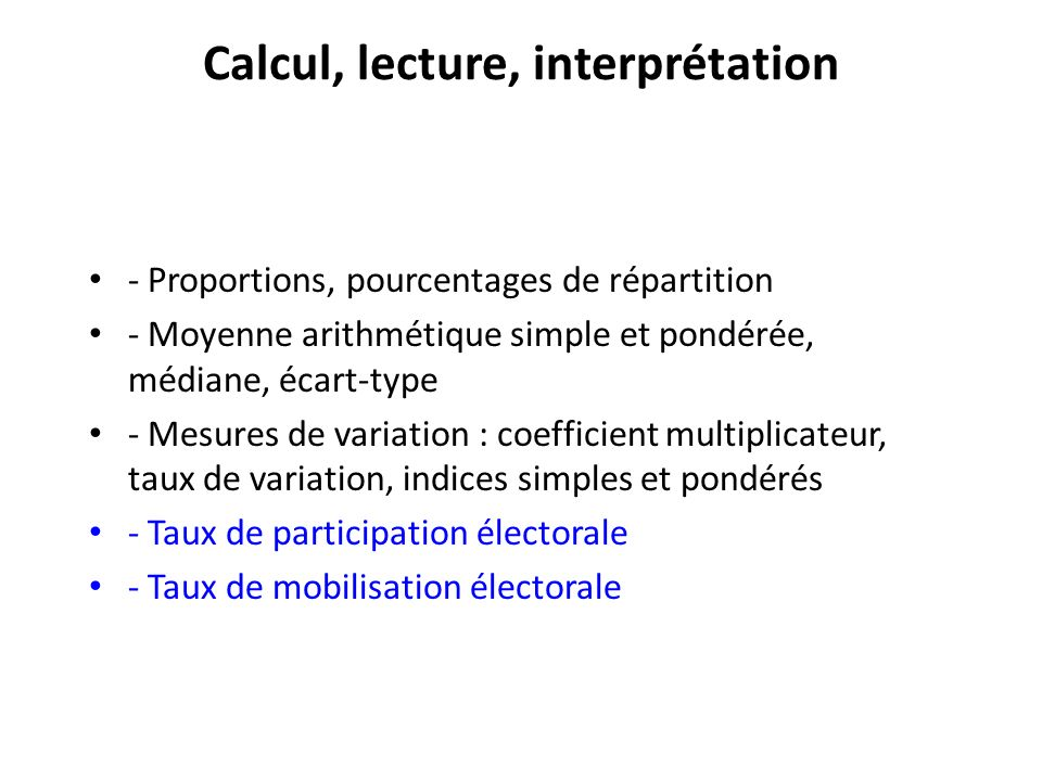 Calcul, lecture, interprétation