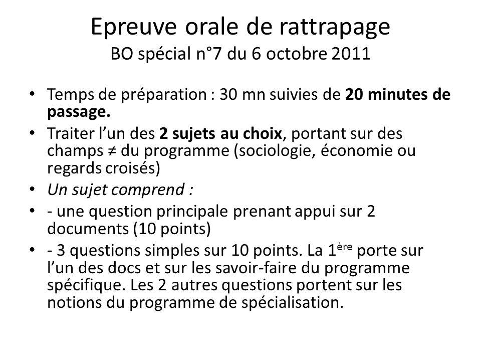 Epreuve orale de rattrapage BO spécial n°7 du 6 octobre 2011